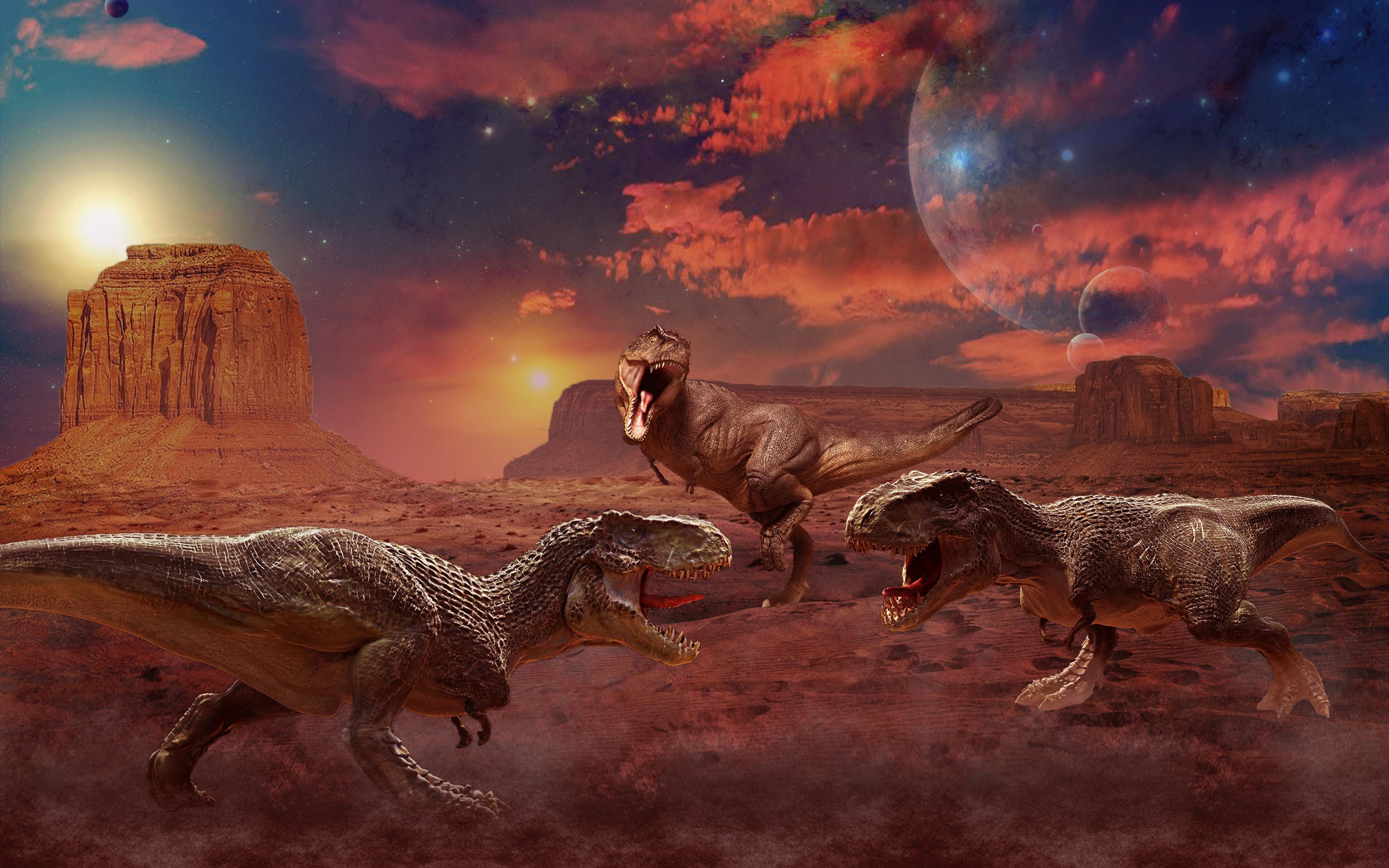 Ancient Animals Dinosaurs Painting Art Three 3 Animals Hd Wallpaper