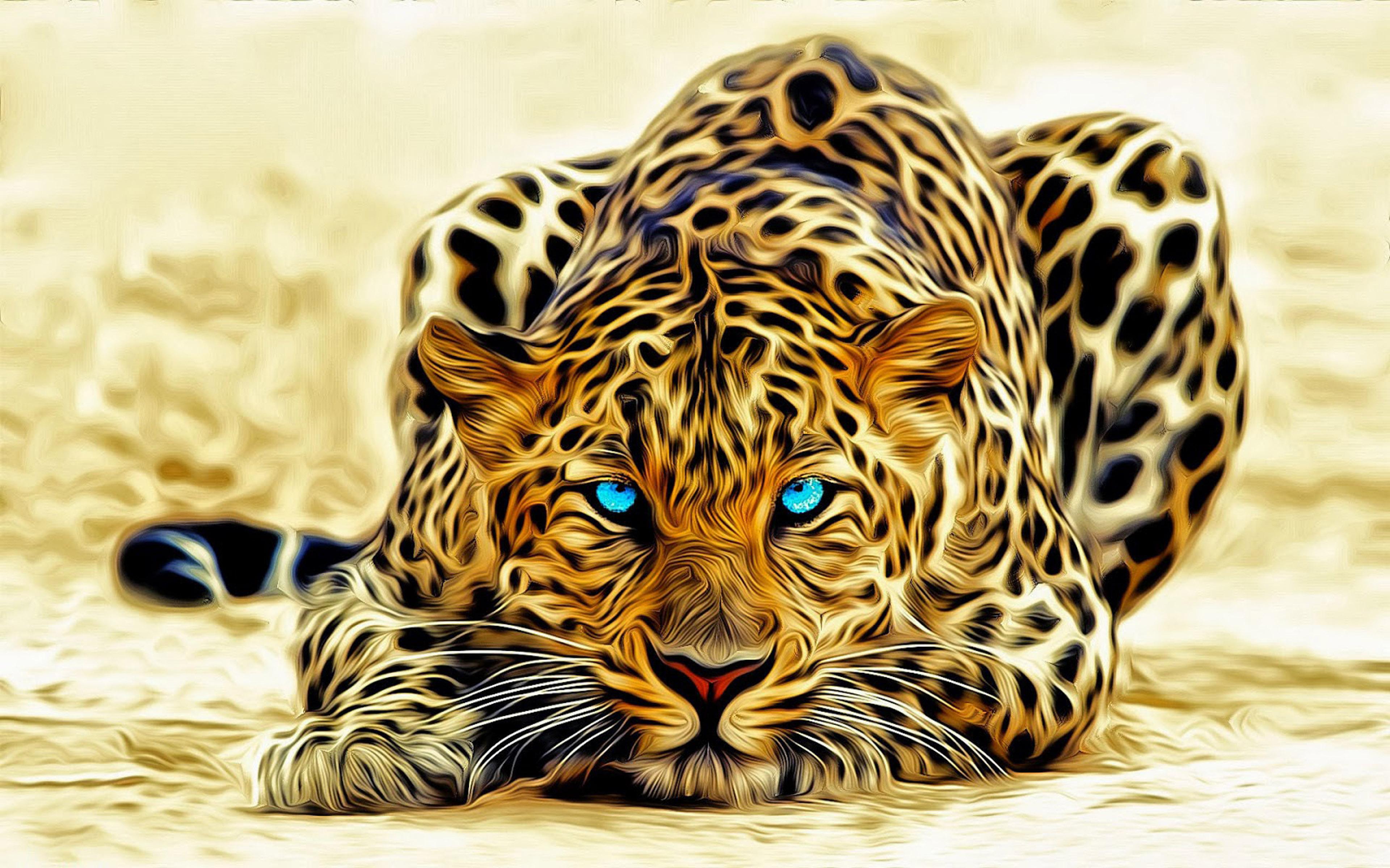 Leopardartabstract3d Wallpaper Hd 3840x2400