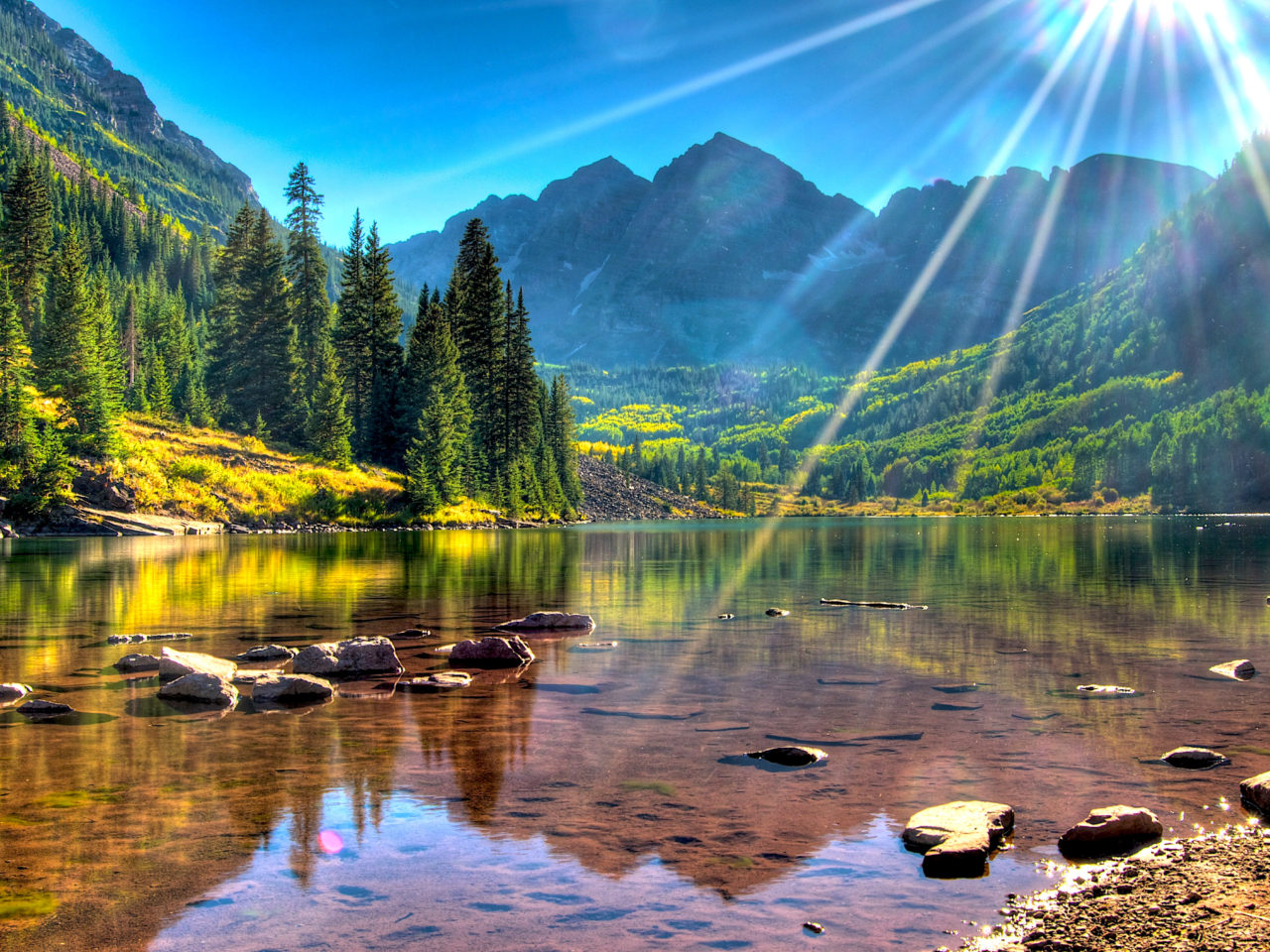 Lake Maroon Bells Usa Colorado Mountains With Green Forest