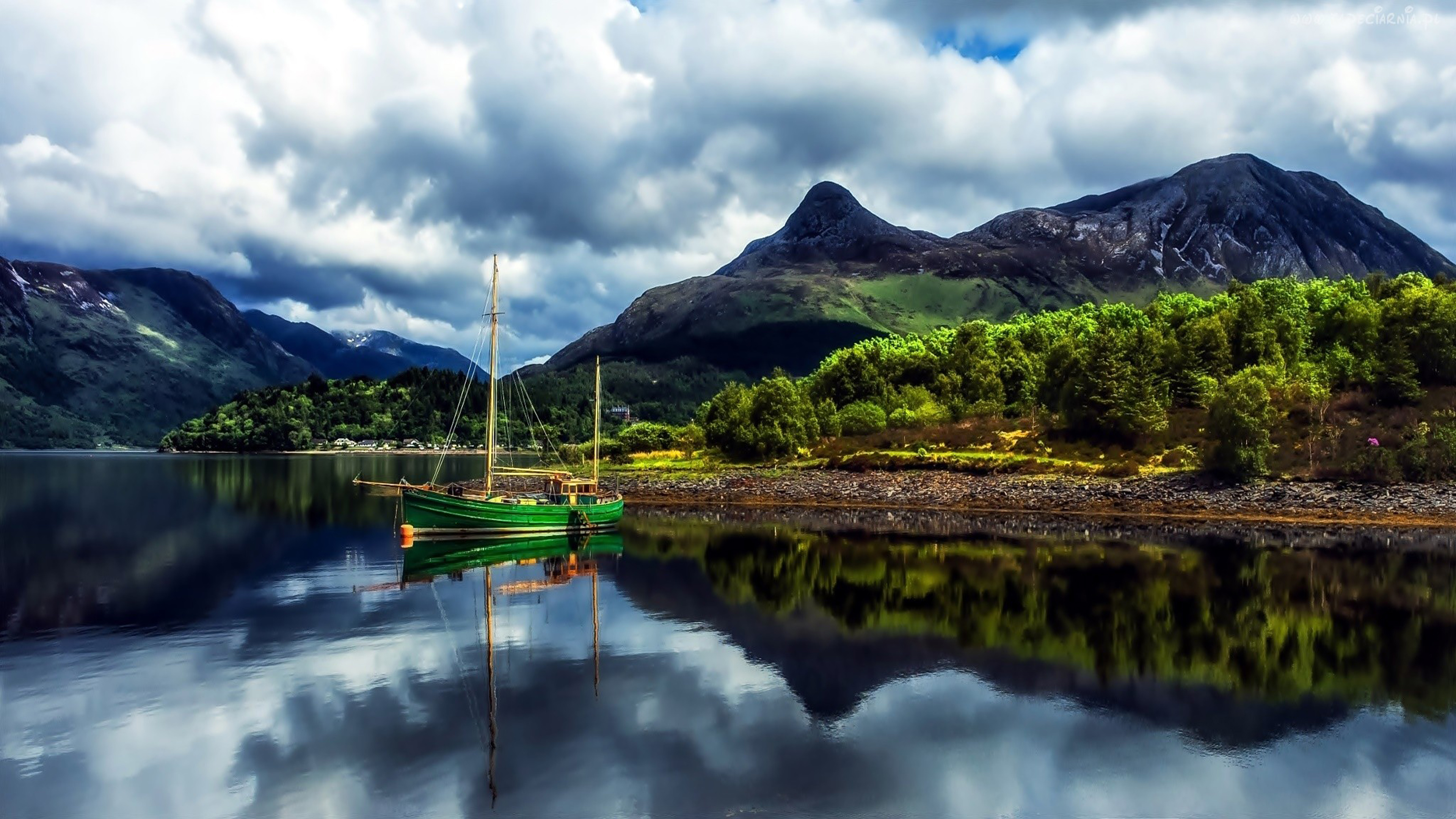 Nature Landscape Mountains Lake Green Boat With Sails Cloudy Sky With Dark Clouds Scotland