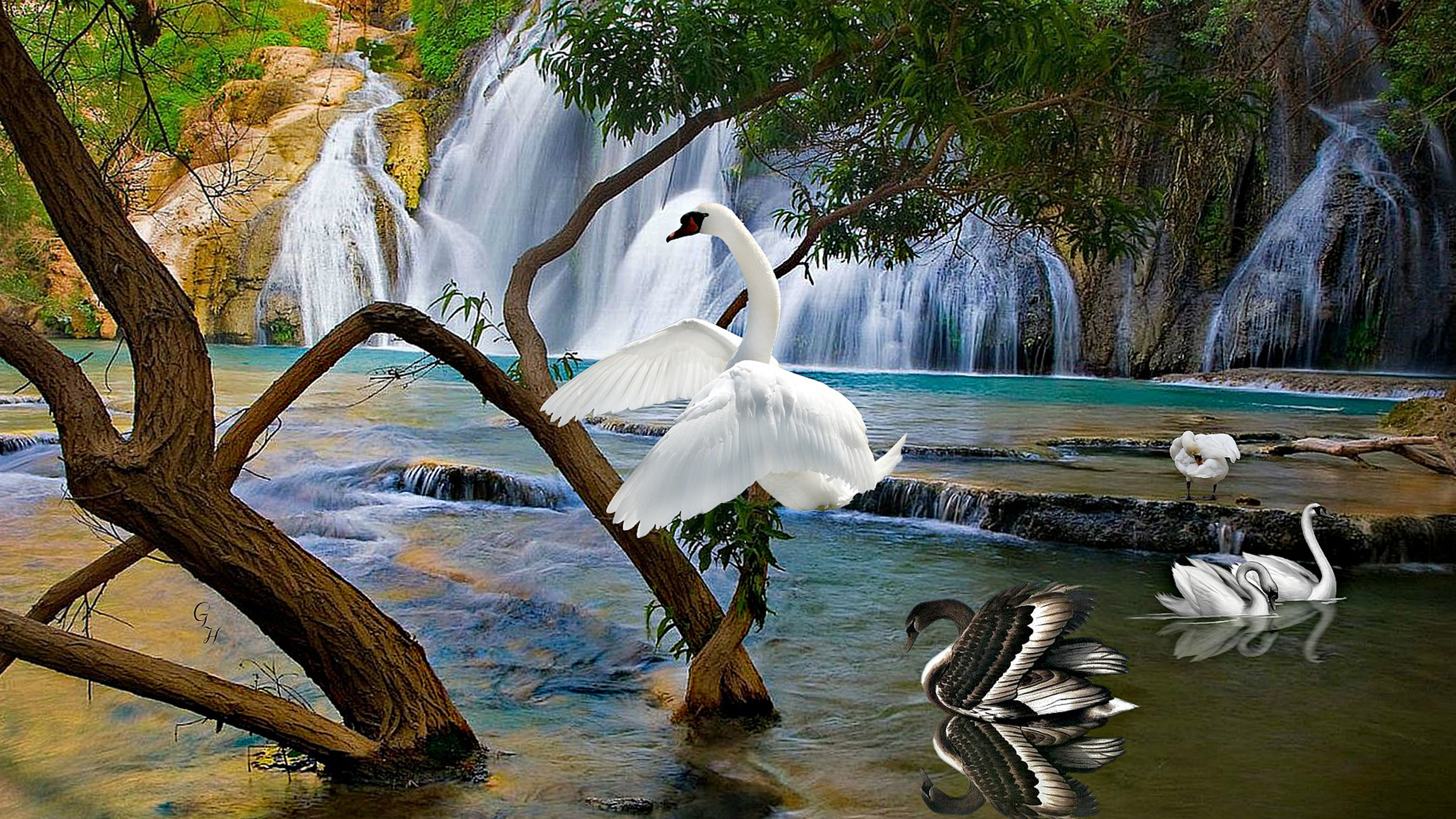 Beautiful Background With Staggered Waterfall White And