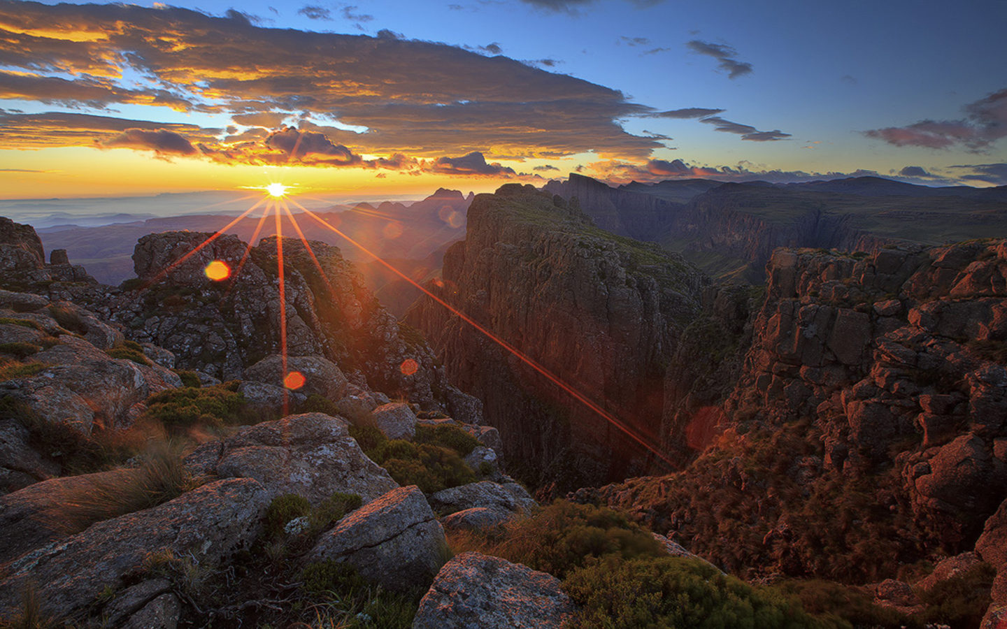 Sunset Rays Dark Red Cloud Canyon Rock Hd Wallpaper The