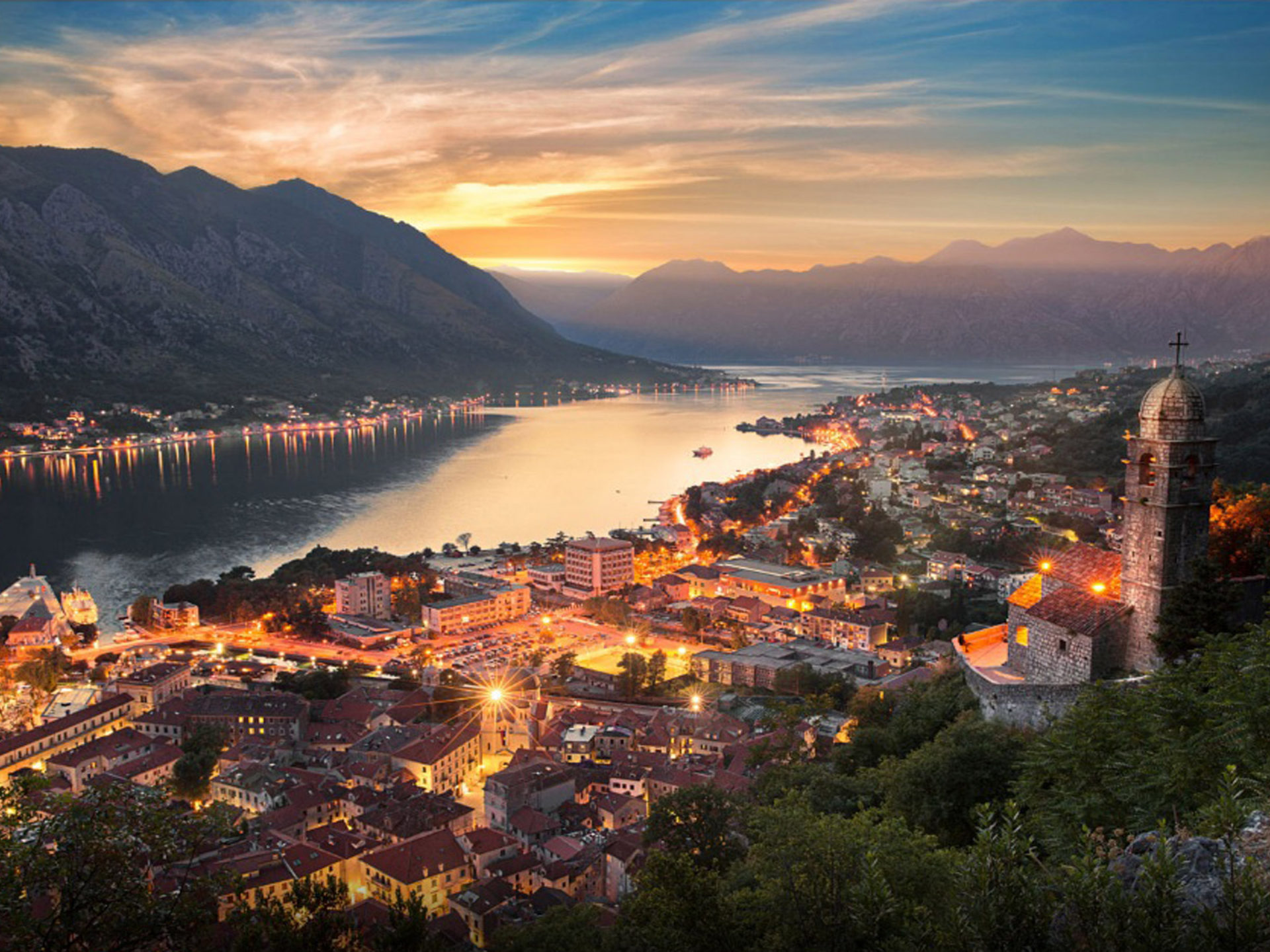 Montenegro City Kotor At Night Desktop Wallpaper Hd