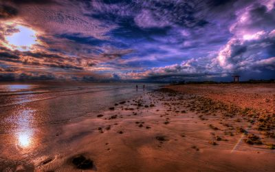 Sea Coast Beach Stone Sky With White And Dark Clouds ...
