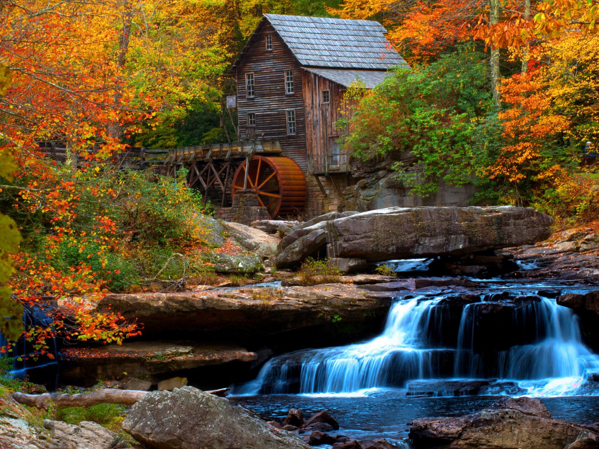 Old Wooden Mill Water Flow Rock Waterfall Hd Wallpaper For