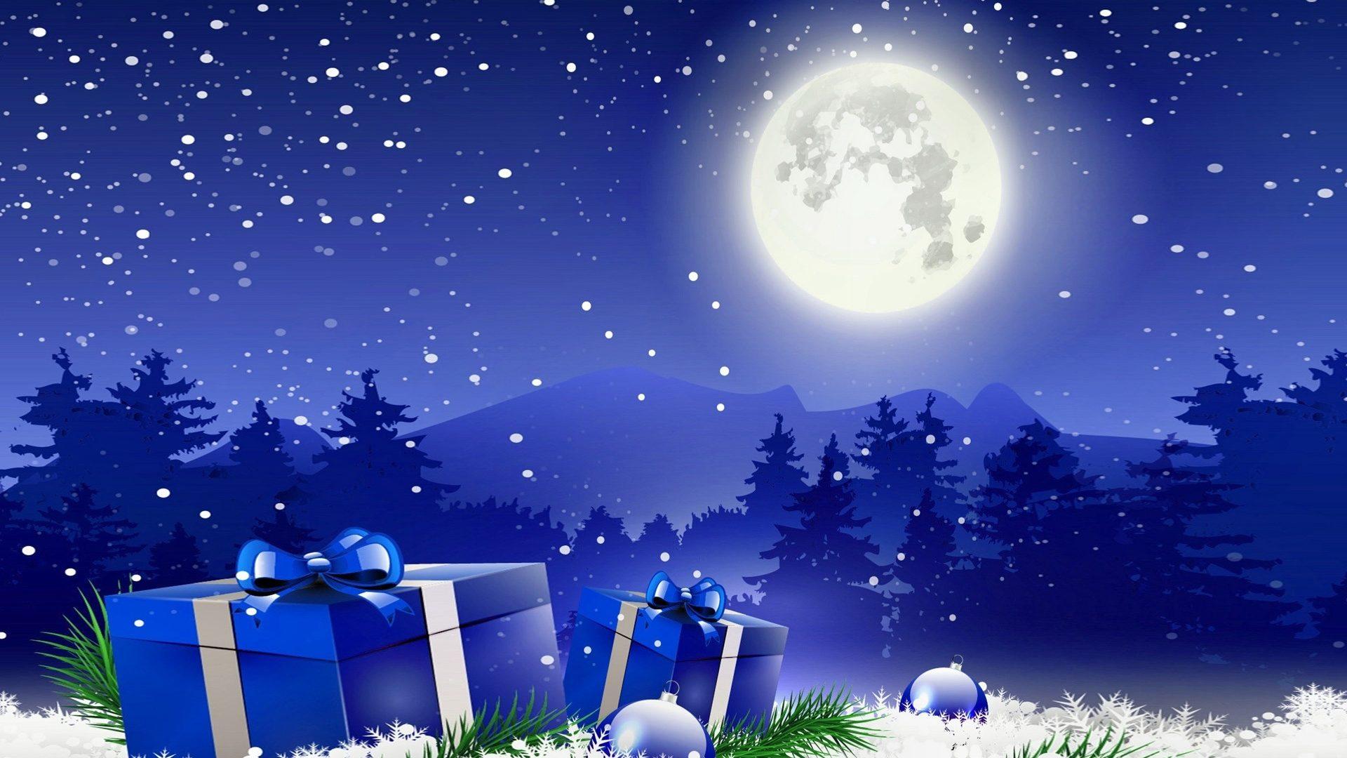 Christmas Winter Moon Gifts Wallpaper For Desktop