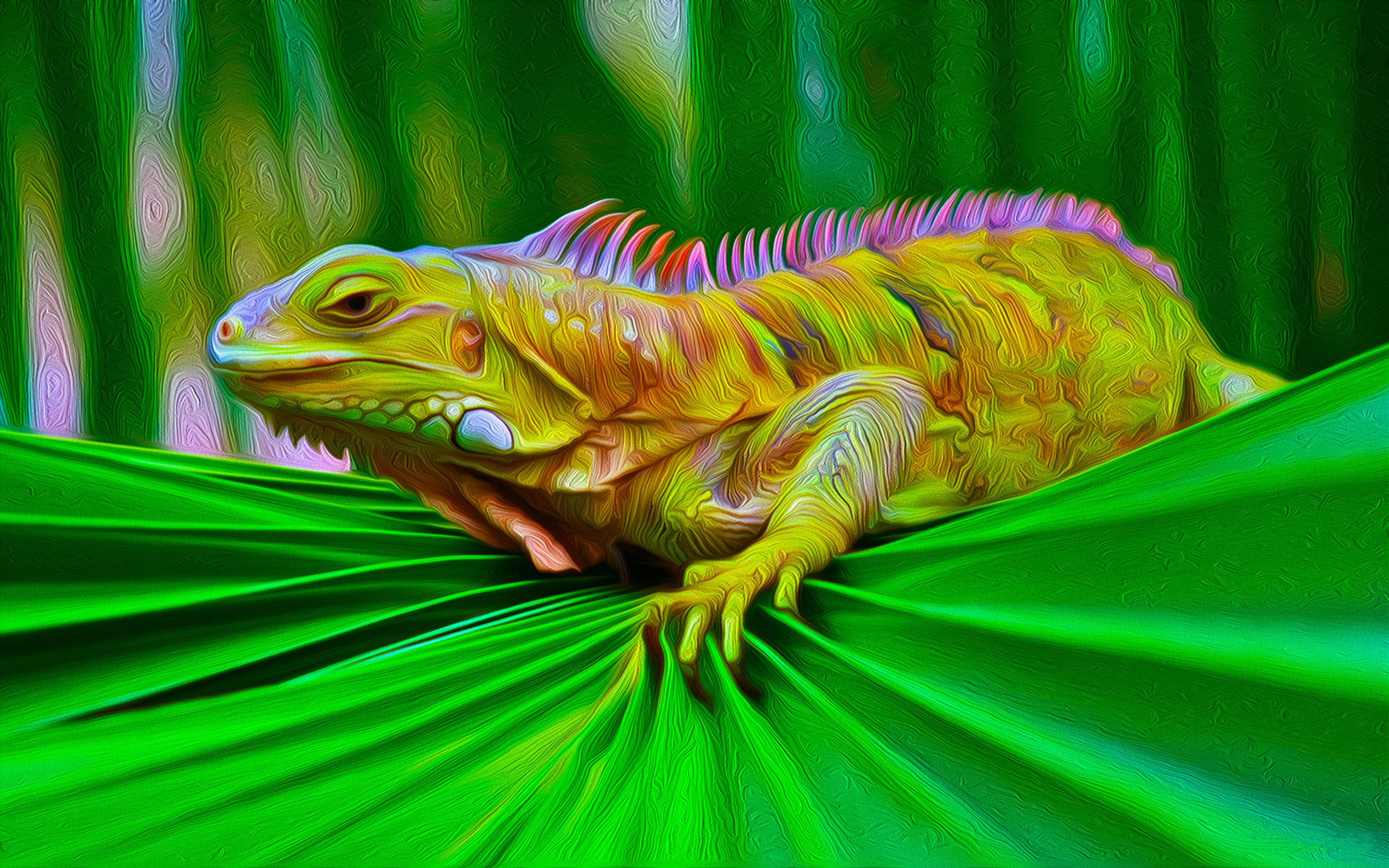 Iguana Colorful Lizard Computer Digital Art For Your