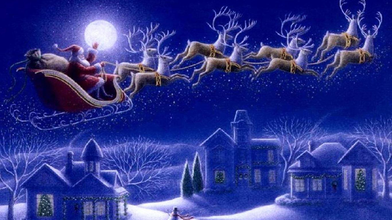 Santa Claus Sleigh With Reindeer Greeting Card Wallpaper