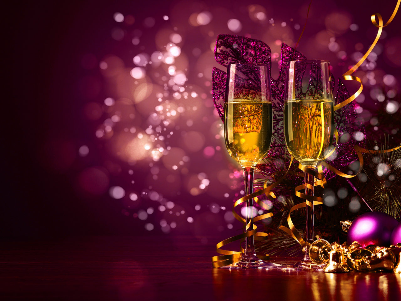 New Years Toast With Glasses Of Champagne Cute Purple