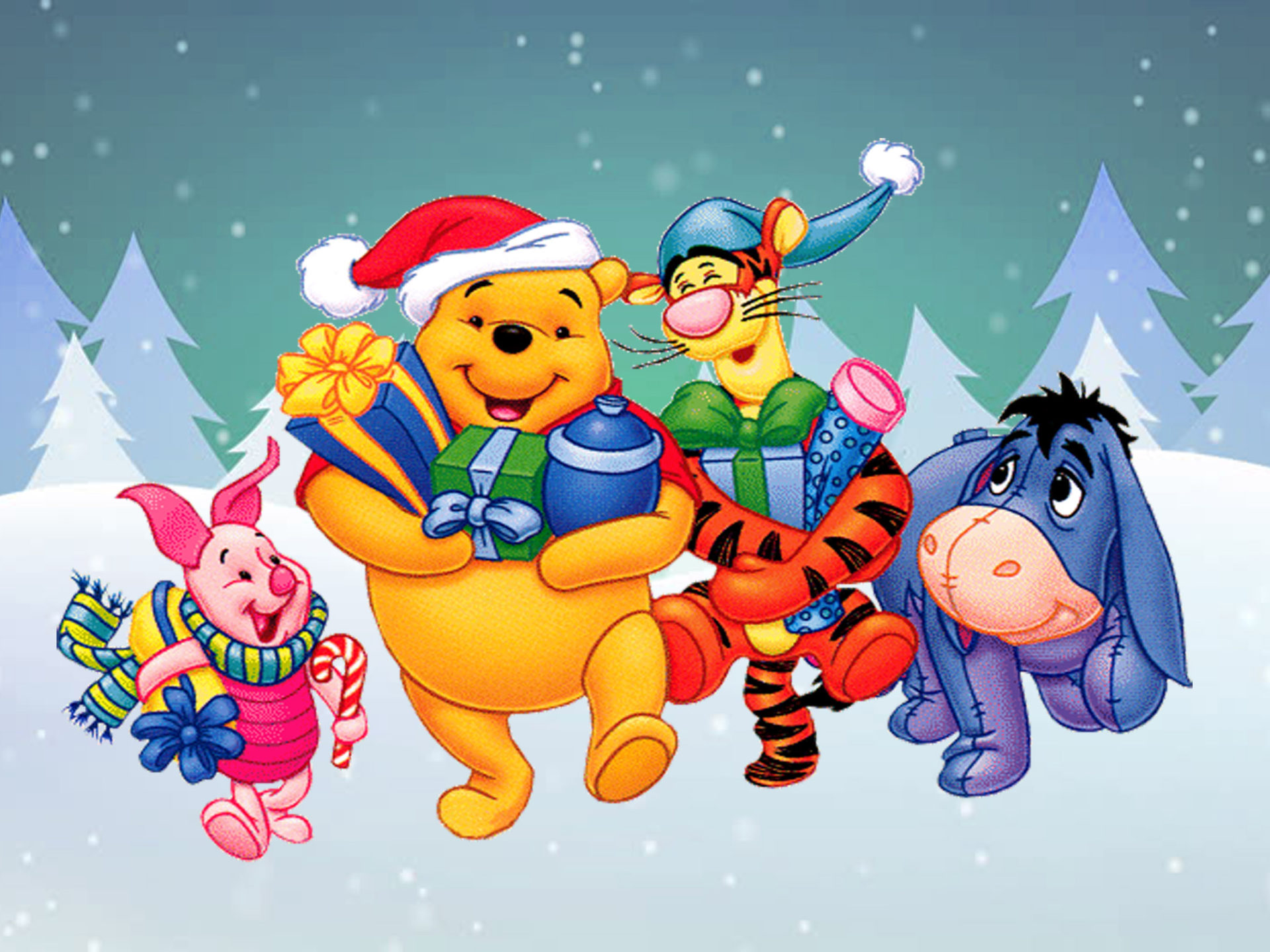 Winnie The Pooh And Friends Cartoon Christmas Gifts Hd