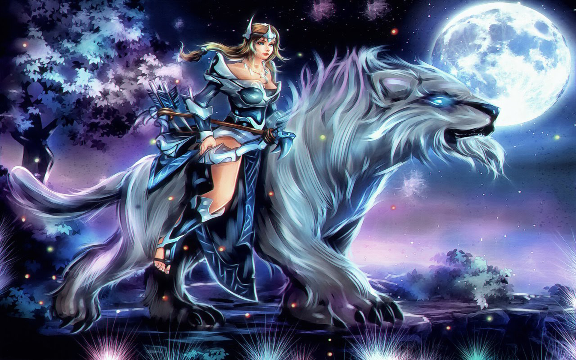 Girl Shooter Mirana Riding The Beast Dota 2 Heroes Skin Art Wallpaper Hd 1920x1200