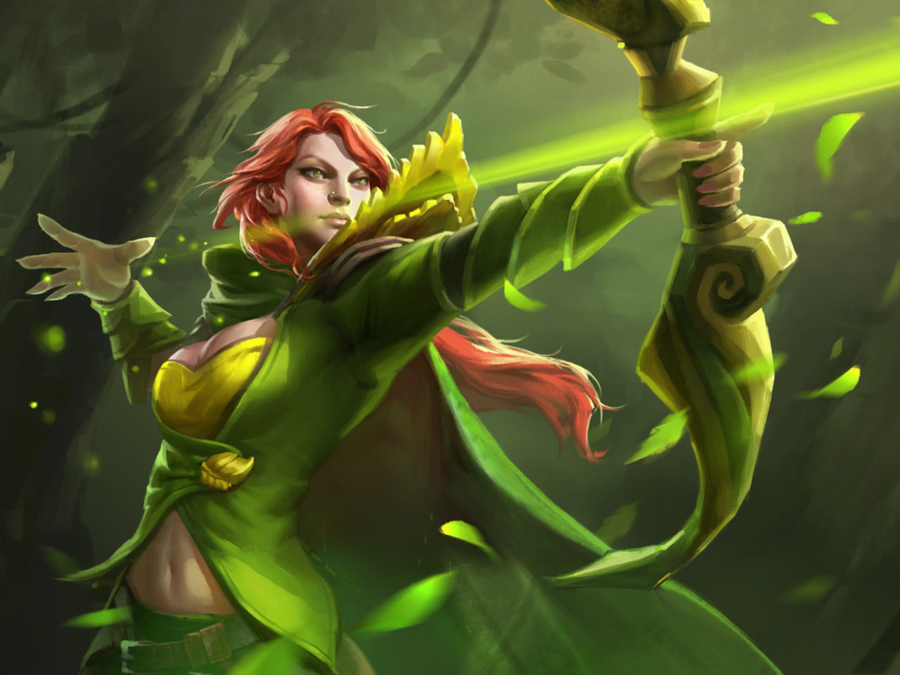Dota 2 Hero Windranger Shooting With Bow And Arrow Forest
