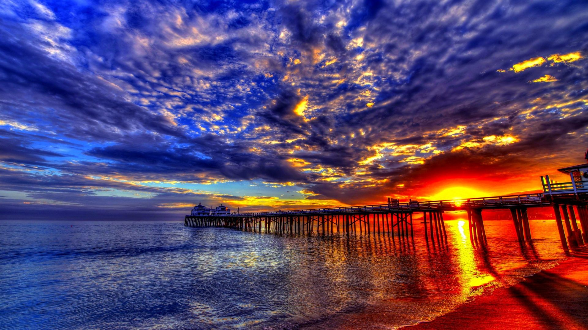 Sunset Beach Sea Pier Platform On Wooden Pillars Sky Clouds Evening Beautiful Hd Wallpaper