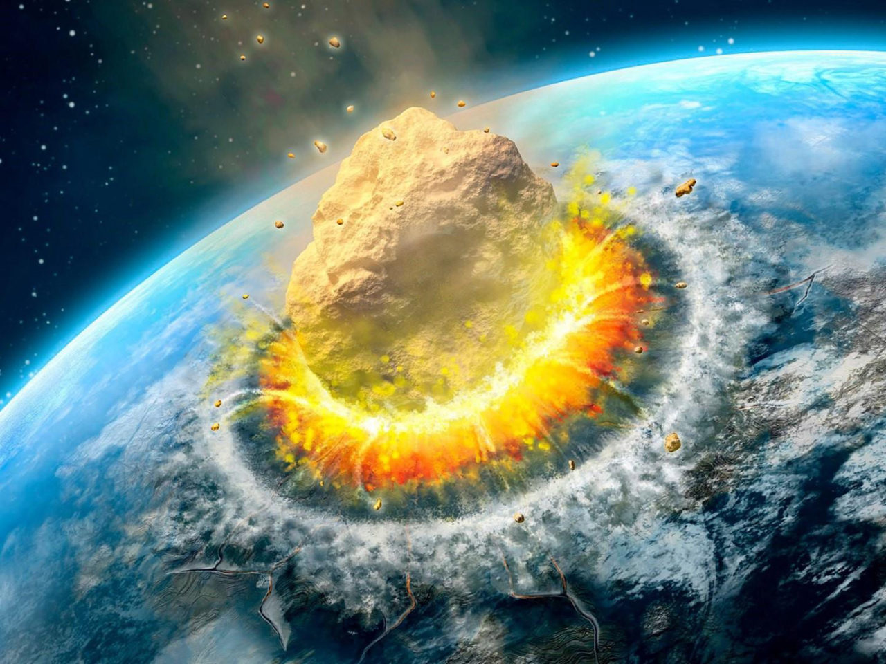 Asteroid Impact Falling Asteroid On Earth Ultra Hd Background 3840x2160