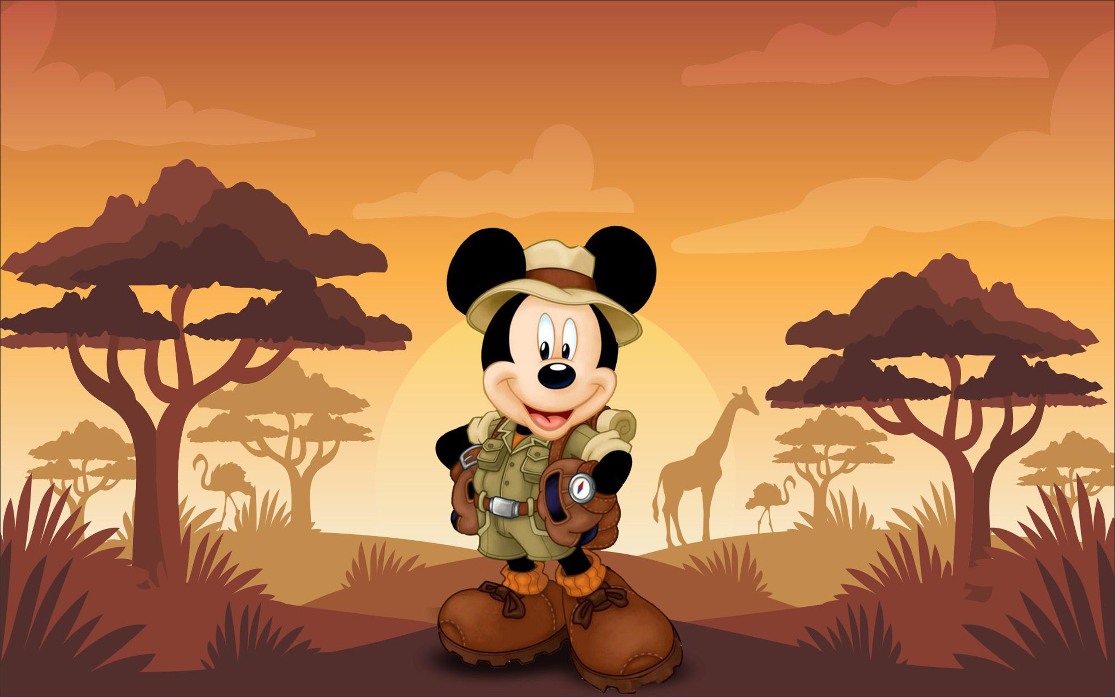 Mickey Mouse Cartoon Safari Sunset Hd Wallpaper 3840x2400