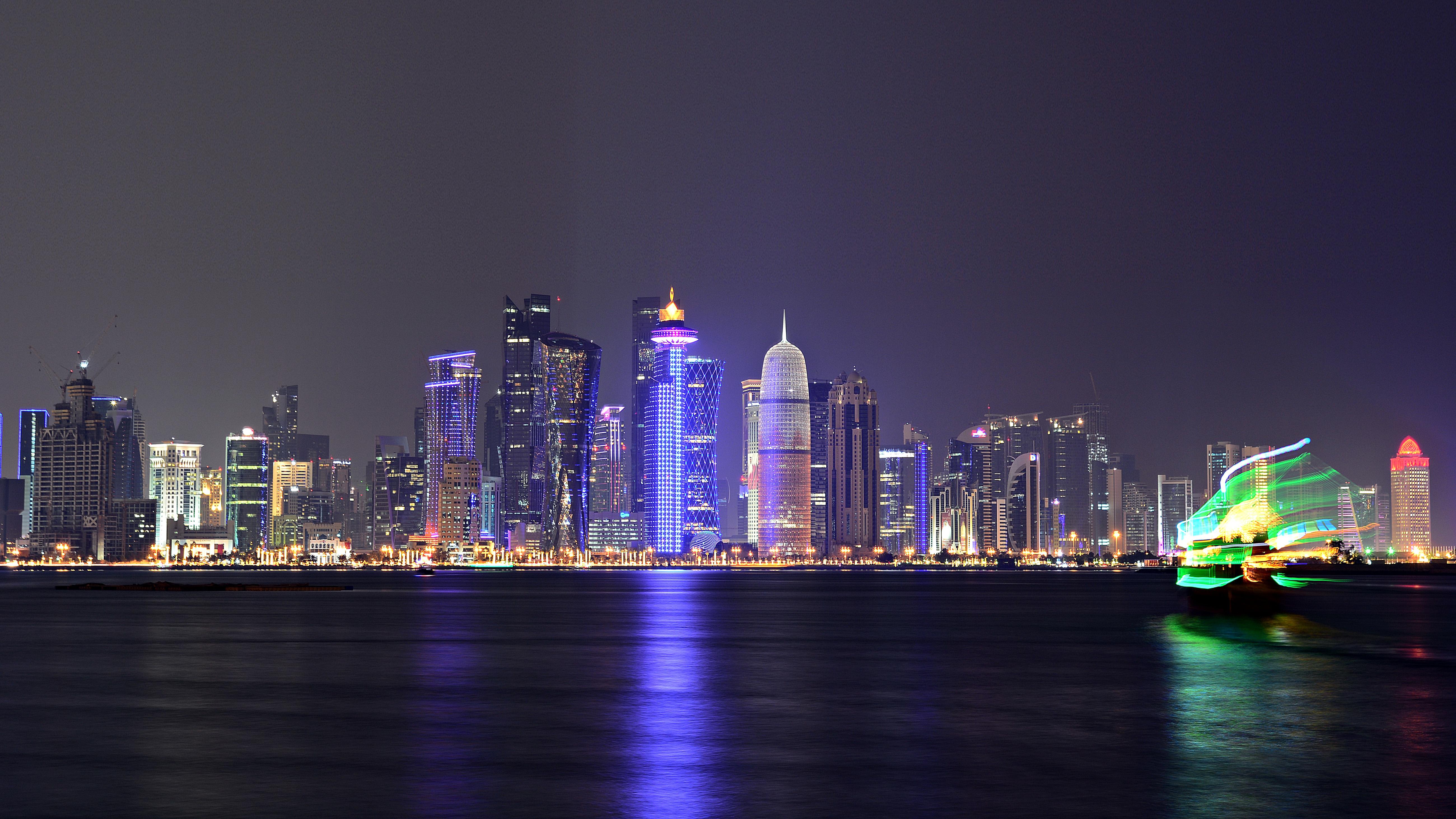 Qatar Dhows Towers Doha Bay Corniche Hd Desktop Wallpapers