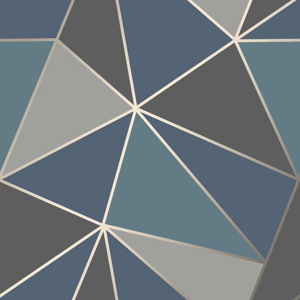 Navy Blue and Gold Geometric Wallpaper