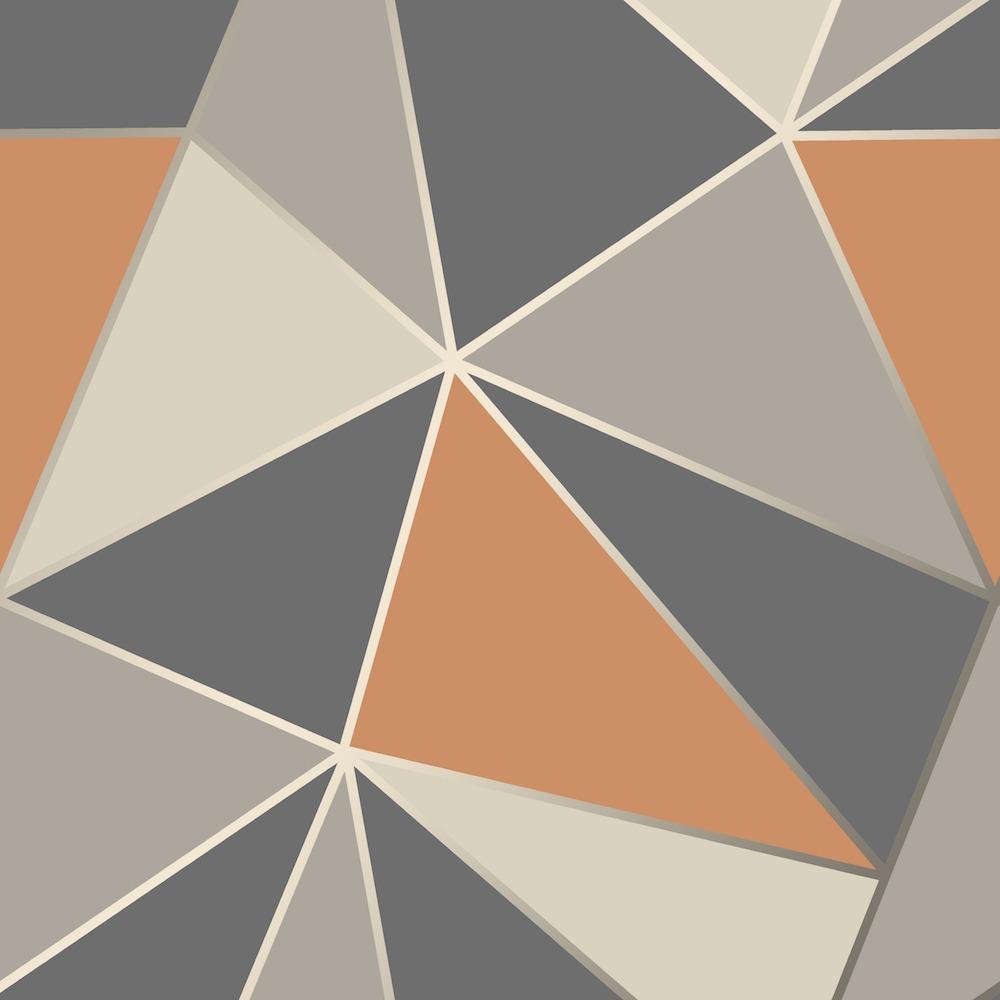 FD42002 Fine Decor Apex Geo Burnt Orange Geometric Design ...