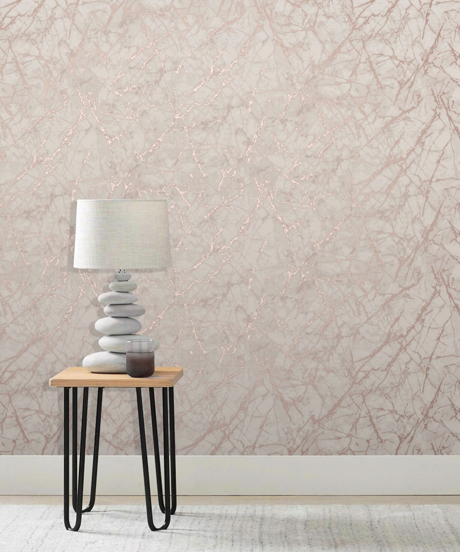 Rose Gold Fractal Marble Geometric Wallpaper Sales