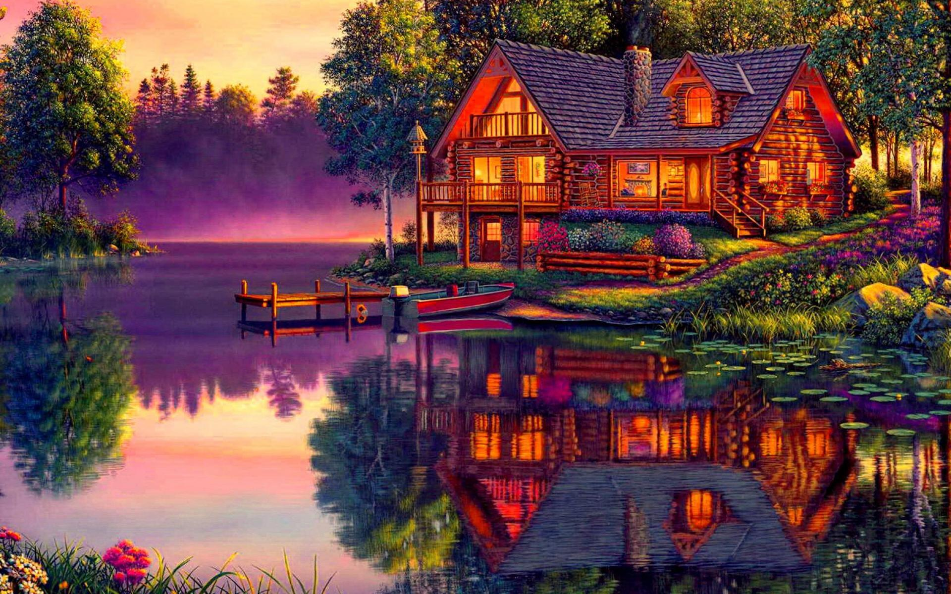 Computer Wallpaper Cabins Lake