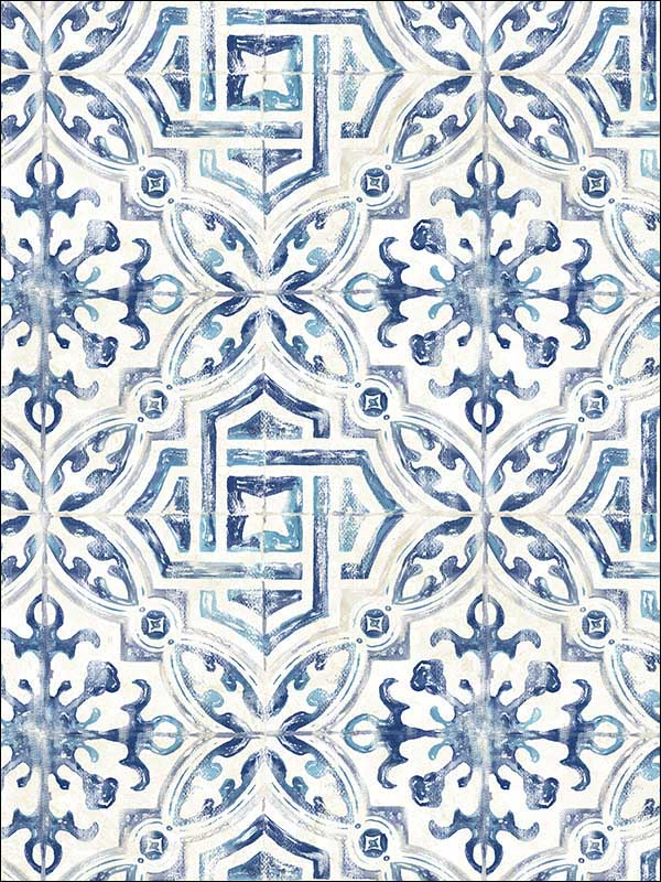 chesapeake 311712332 sonoma blue spanish tile wallpaper