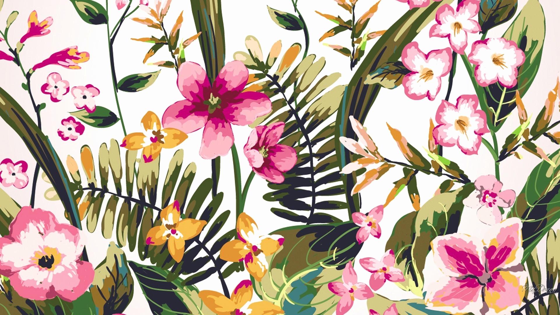 Background Desktop Watercolour Flowers 1920x1080 Download Hd Wallpaper Wallpapertip