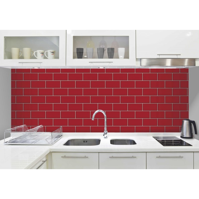 home ceramica red subway tile effect