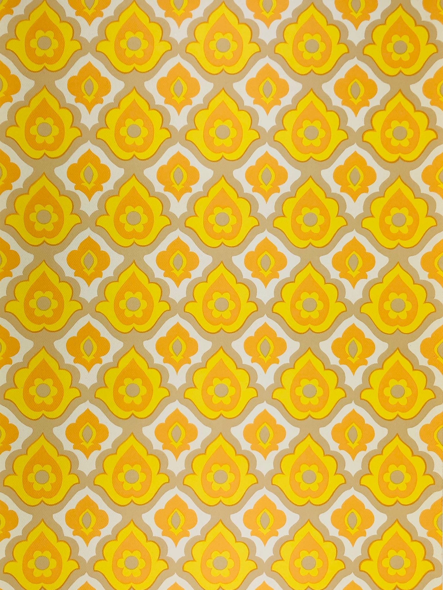 1970s vintage yellow geometric