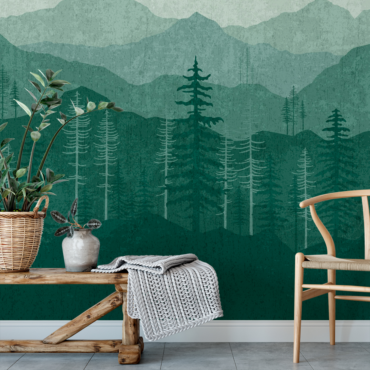 Teal Green Ombr Mountain Wall Mural Removable Wallpaper Mountain Removable Wallpaper Green 1500x1500 Download Hd Wallpaper Wallpapertip