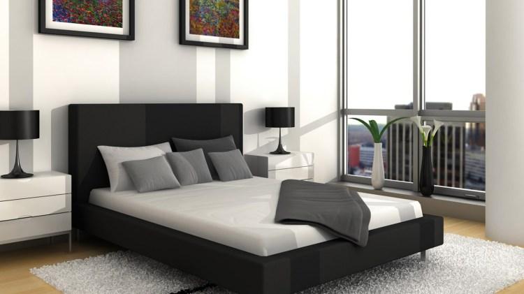 Best Design Wallpapers Black Grey White Modern Bedroom Black Bed Design 1366x768 Download Hd Wallpaper Wallpapertip