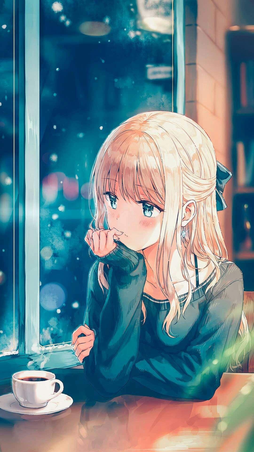 Sad Anime Wallpaper For Mobile Anime Girl Drinking Coffee 1080x1920 Download Hd Wallpaper Wallpapertip