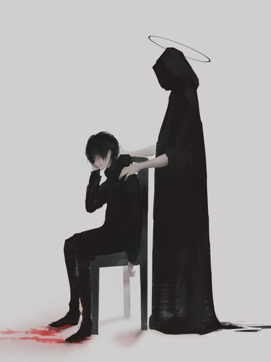 Anime Boy The Reaper Sad 1536x2048 Download Hd Wallpaper Wallpapertip