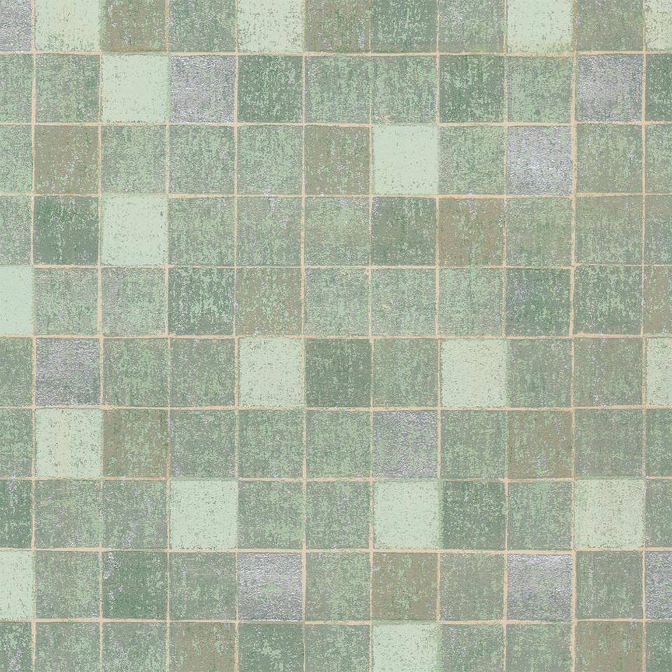 textured green mosaic tile wallpaper
