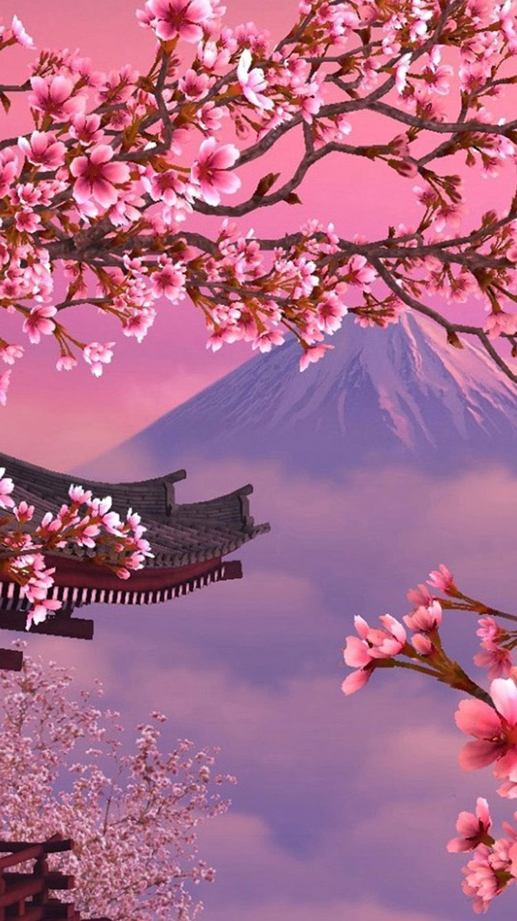 Cherry Blossoms Iphone Wallpaper Japanese Cherry Blossom Anime 750x1334 Download Hd Wallpaper Wallpapertip