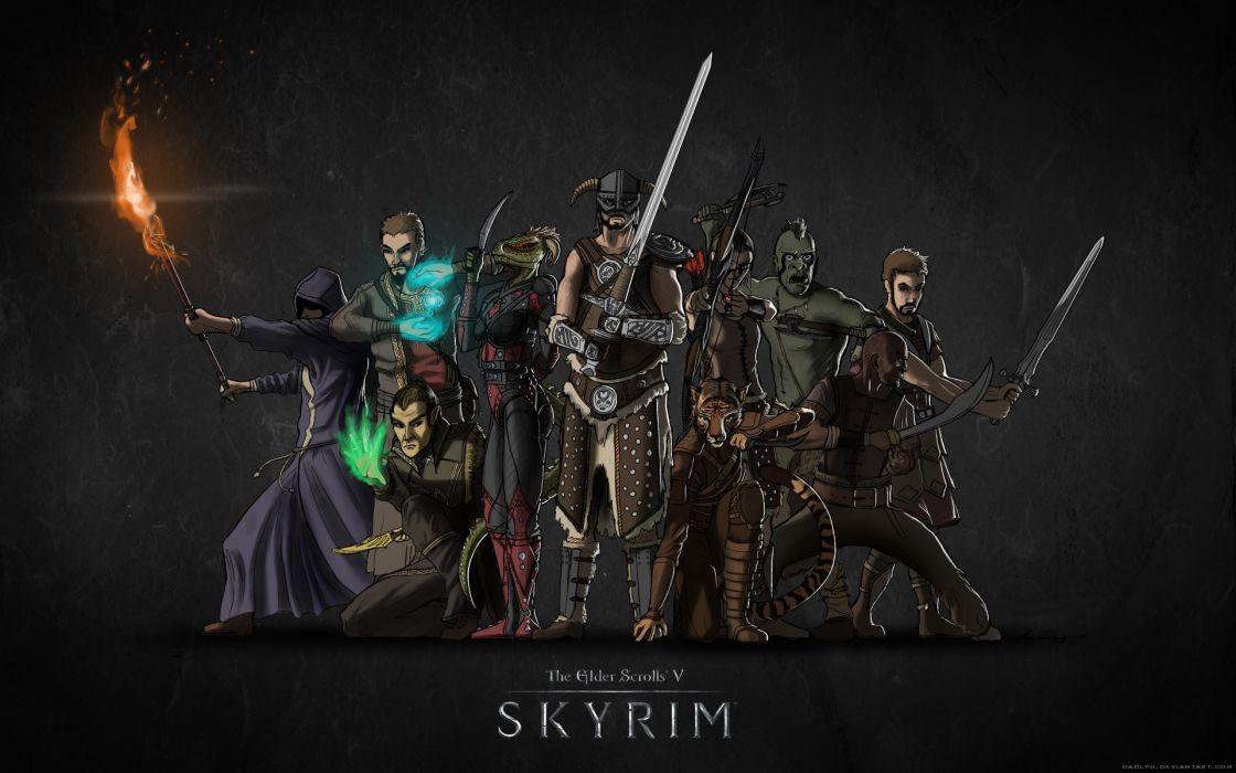 Mage Archers Elves Orcs Argonian Dovakhiin Swords The