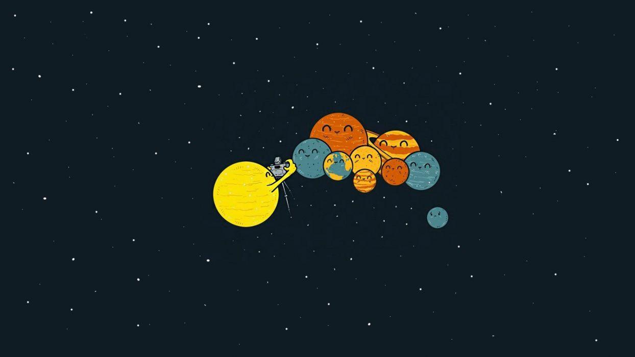 Sci Fi Humor Cute Planets Sun Wallpaper 1920x1080