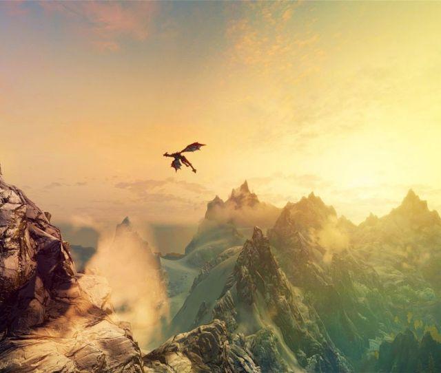 Mountains Dragons Fantasy Art The Elder Scrolls V Skyrim Wallpaper