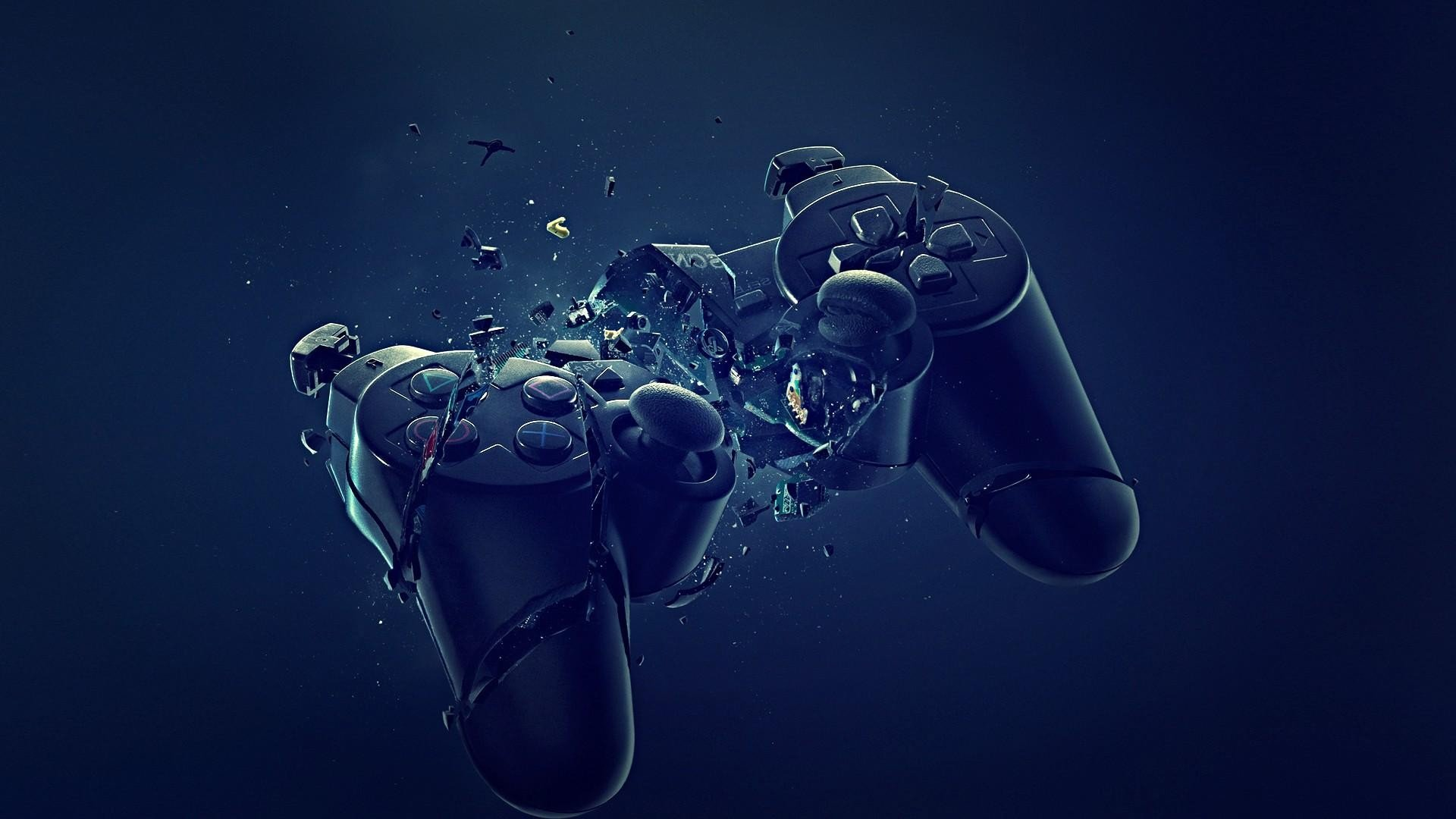 Abstract Blue Black Dark Broken PlayStation Joysticks