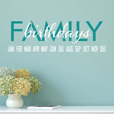 SALE Family Birthdays Wall Quotes Decal TEAL And WHITE