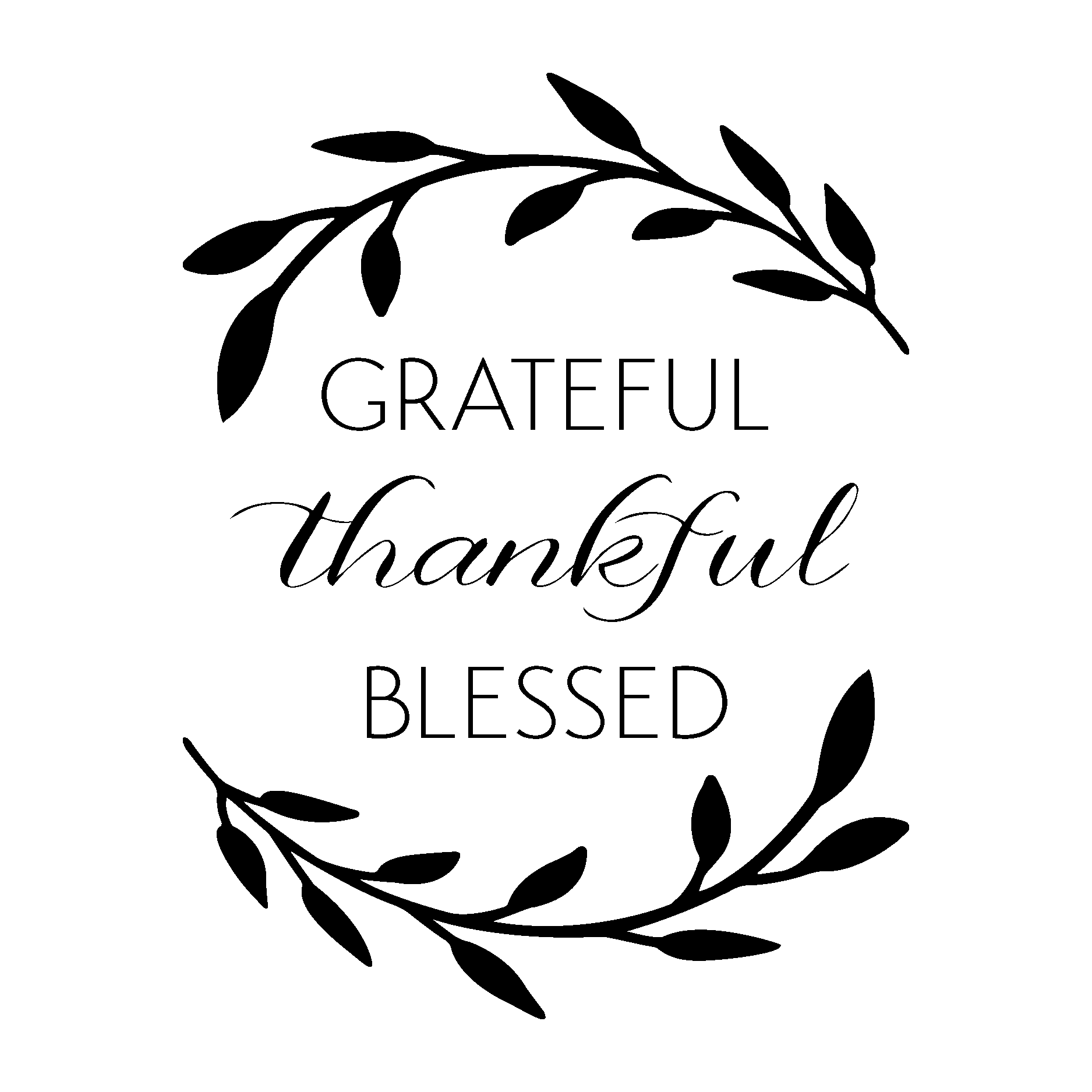 Grateful Thankful Blessed Wall Quotes Decal