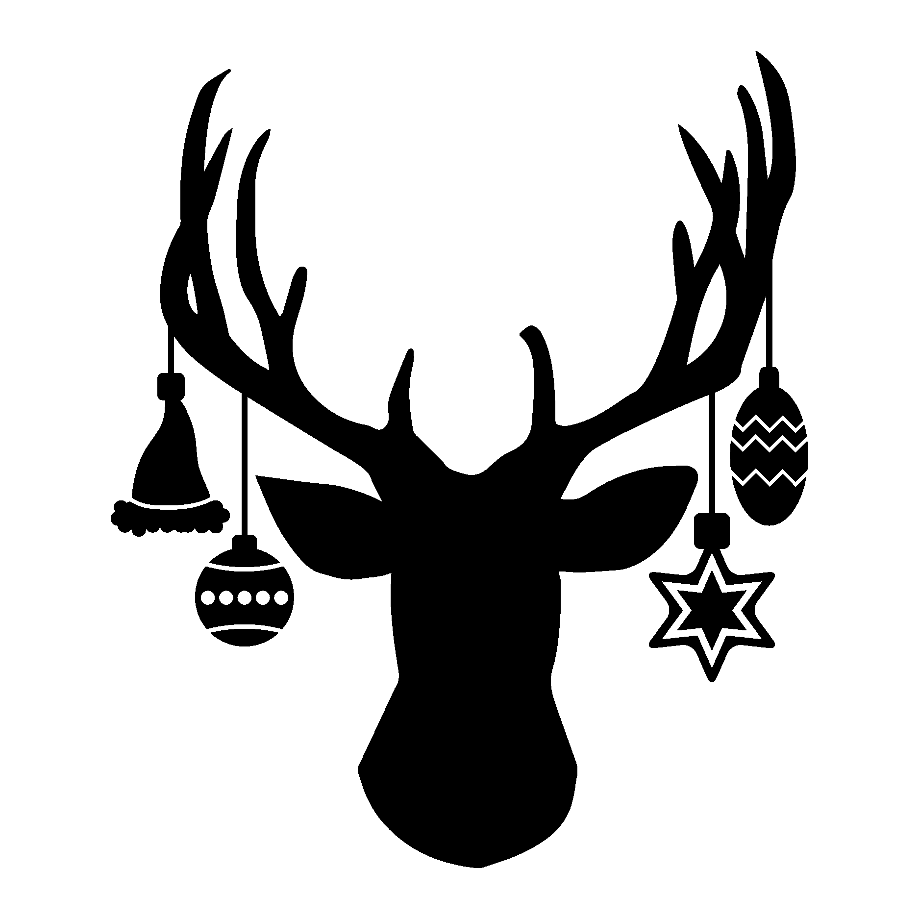 Deer Head Ornament Wall Quotes Decal
