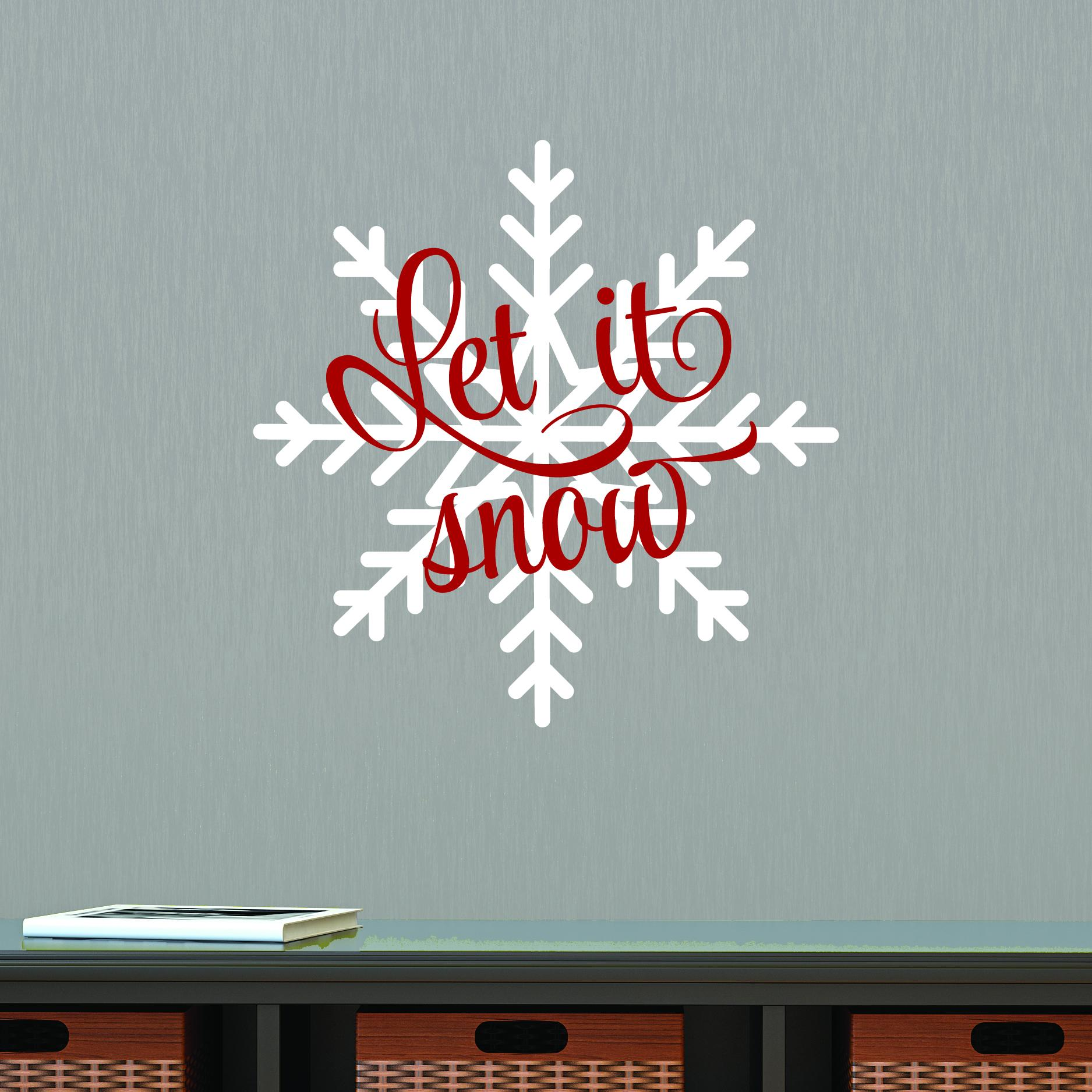 Let It Snow Snowflake Wall Quotes Decal