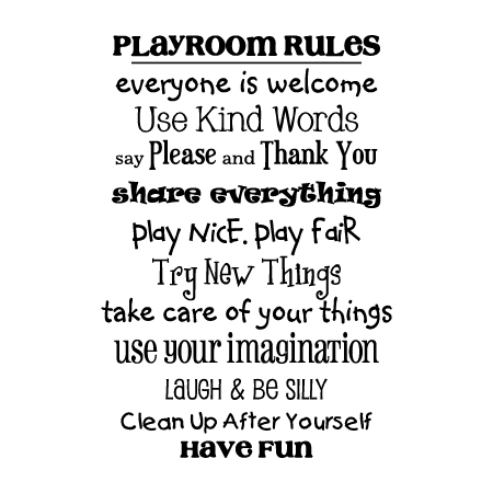 Playroom Rules Wall Quotes Decal