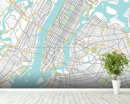 City Map Mural Path Decorations Pictures Full Path Decoration - New york street map wallpaper