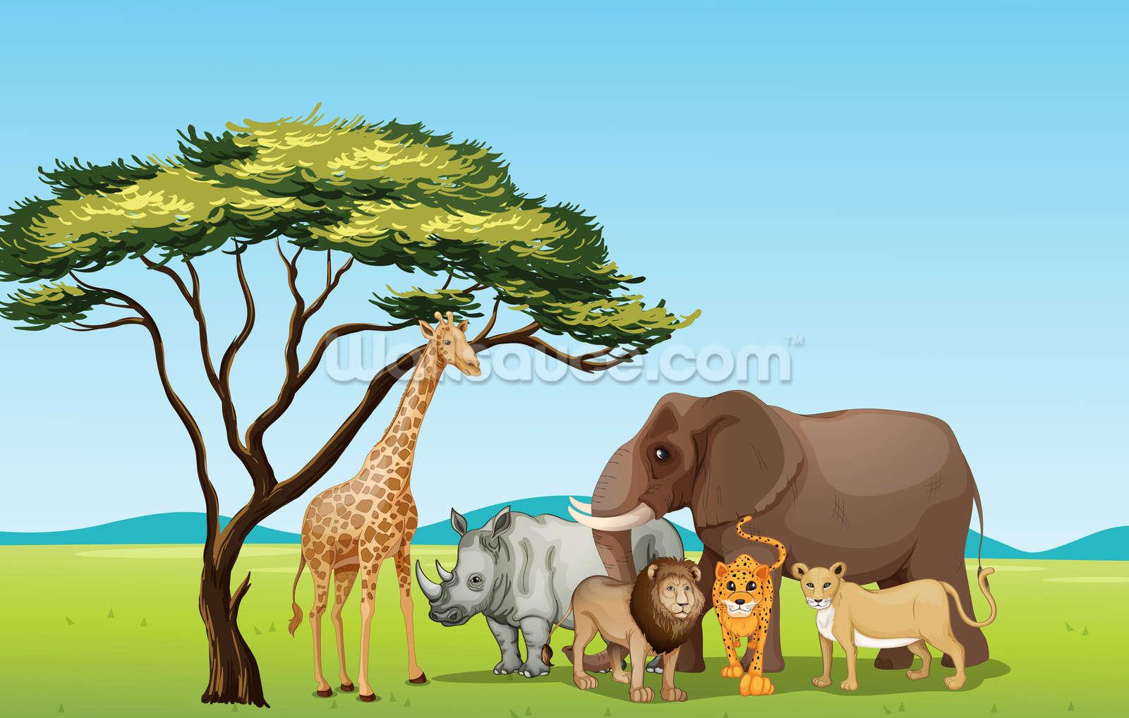 African Safari Cartoon Wallpaper Mural