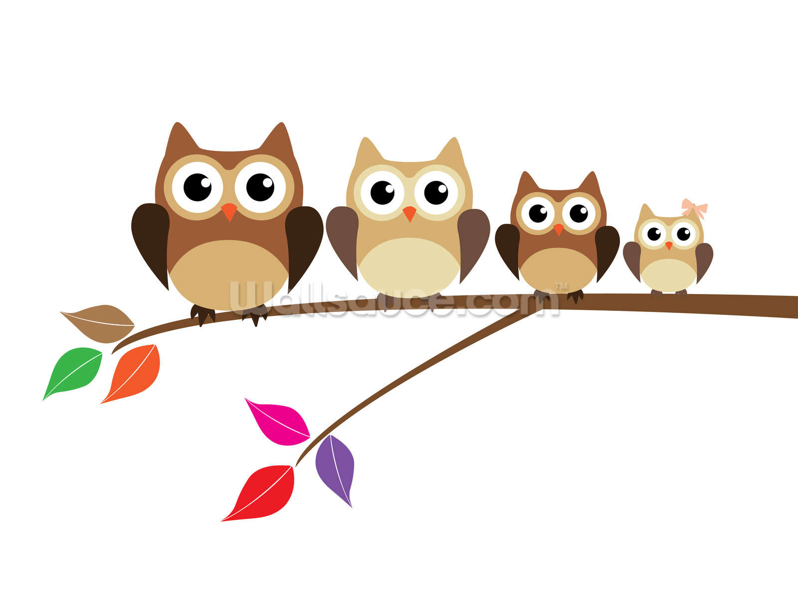 Owl Family Wallpaper