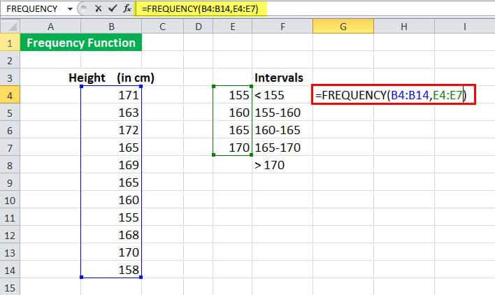 Пример функции FREQUENCy 1-2