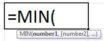 Формула MIN в Excel