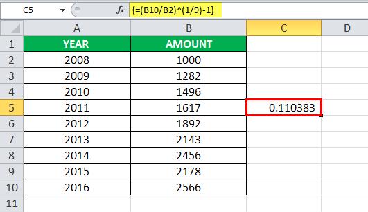 Функция CAGR в Excel, шаг 3