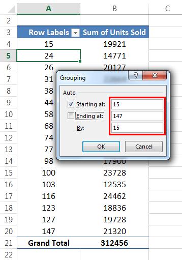 Пример распределения частот 1-6